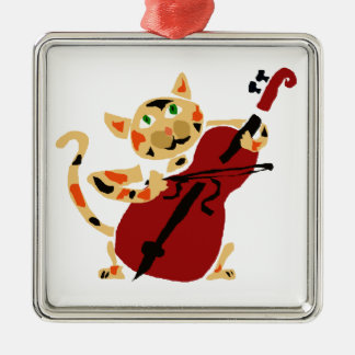 Funny Calico Cat Playing Cello Art Cartoon Metal Ornament