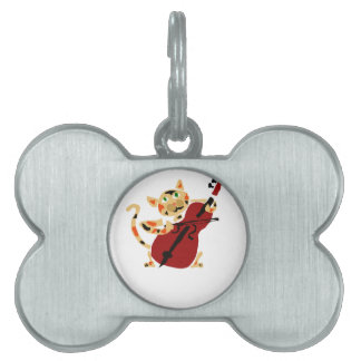 Funny Calico Cat Playing Cello Art Cartoon Pet Name Tags