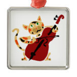 Funny Calico Cat Playing Cello Art Cartoon Square Metal Christmas Ornament