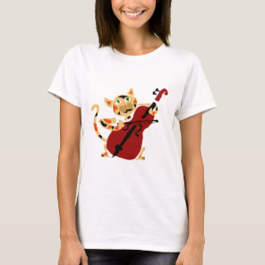 Funny Calico Cat Playing Cello Art Cartoon T-Shirt