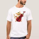 Funny Calico Cat Playing Cello Art Cartoon T-Shirt