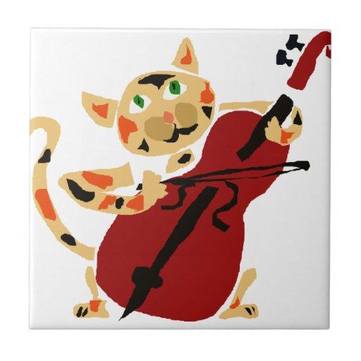 Funny Calico Cat Playing Cello Art Cartoon Ceramic Tile