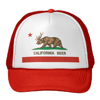 Funny California Beer State Flag Trucker Hat red