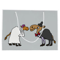 Funny Camel Bride and Groom Wedding Cartoon Large Gift Bag