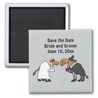 Funny Camel Bride and Groom Wedding Cartoon Magnet