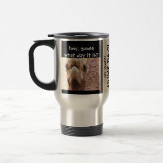 Funny Camel HUMP DAY Travel Mug, Black & Tan Travel Mug