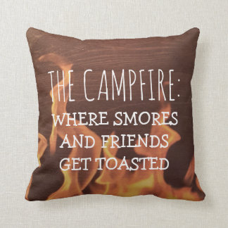 Funny Camping Campfire Saying Smores Friends Throw Pillow