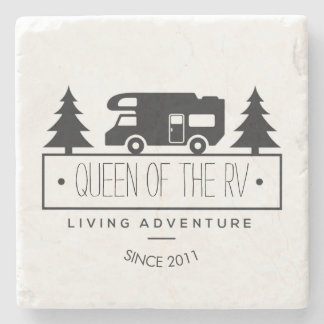 Funny Camping   Queen of the RV RVer RVing Retired Stone Coaster