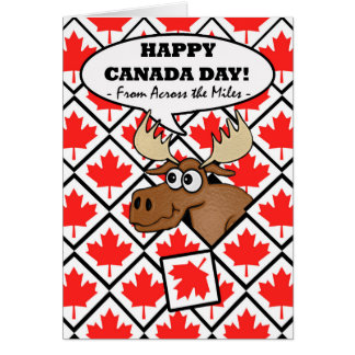 Funny Canada Day from Across the Miles, Moose Tile Card