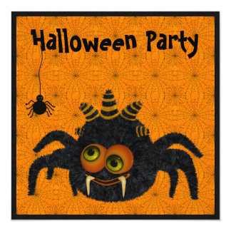 Funny Candy Corn Spider & Cobwebs Halloween Party Invitation