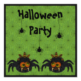 Funny Candy Corn Spiders & Cobwebs Halloween Party Invitation