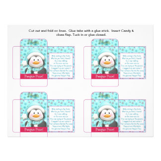 Funny Candy Packet Penguin Poop with Saying Full Color Flyer