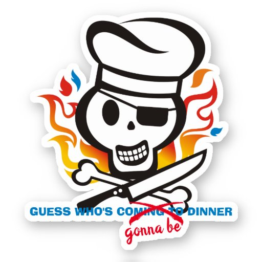 Funny cannibal chef skull meat bone personalized sticker