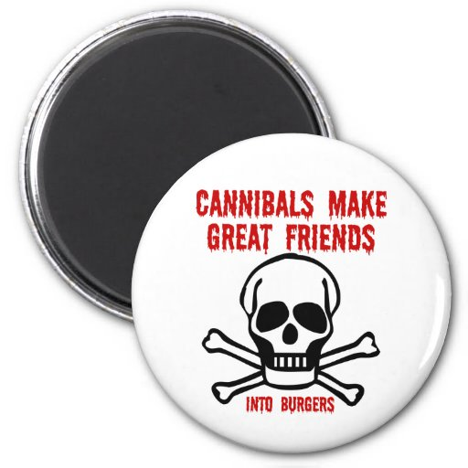 Funny cannibals 2 inch round magnet