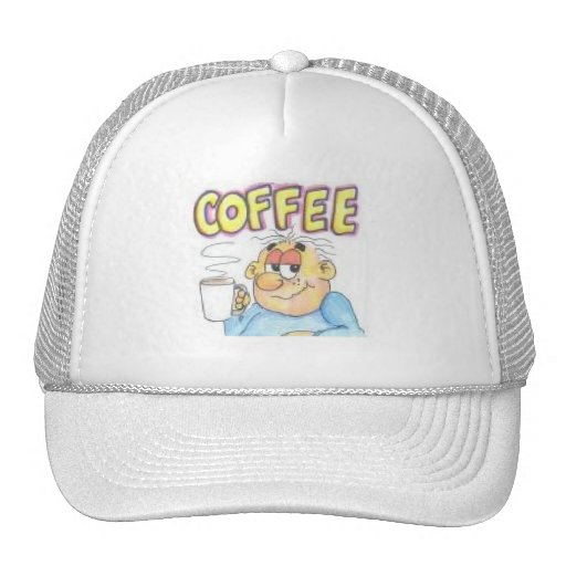 Funny cap with cartoon character drinking coffee hat