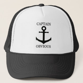 "Funny ""Captain Obvious"" & Anchor Trucker Hat"