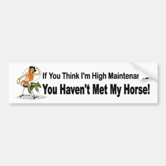 Funny car sticker for women who own horses bumper stickers