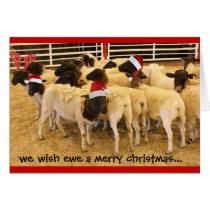 Funny Card, Wish Ewe Merry Xmas, Happy Gnu Year! Card