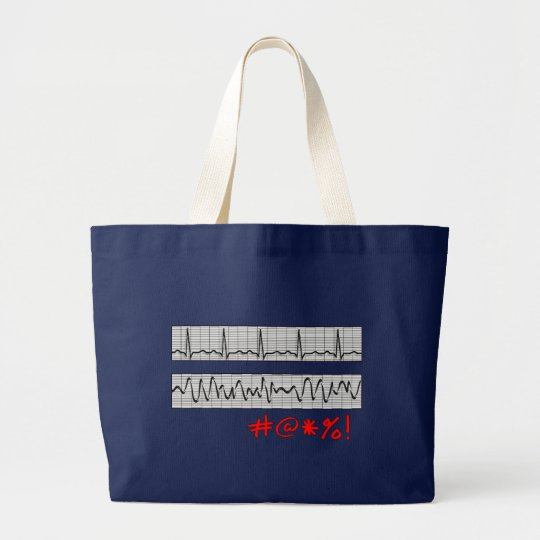 Funny Cardiac Rhythm Strip Gifts Large Tote Bag