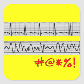 Funny Cardiac Rhythm Strip Gifts Square Sticker