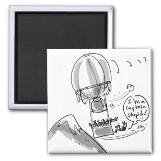 funny caricature hot air baloon magnet