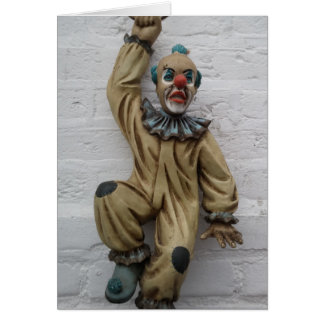 Funny Carnival Clown hanging on wall Card