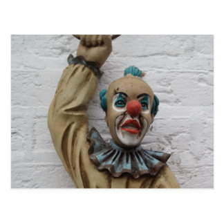 Funny Carnival Clown hanging on wall Postcard
