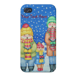 funny carol singers in the snow Christmas art Covers For iPhone 4