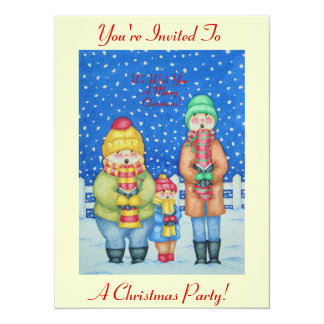 "funny carol singers in the snow Christmas art 5.5"" X 7.5"" Invitation Card"