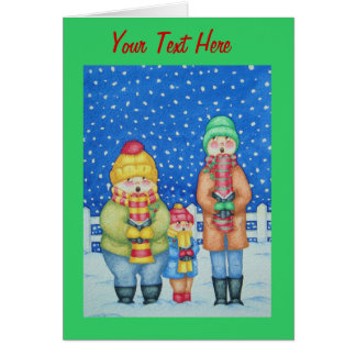 funny carol singers in the snow Christmas art Stationery Note Card