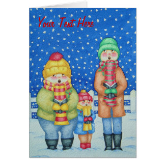 funny carol singers in the snow christmas design card
