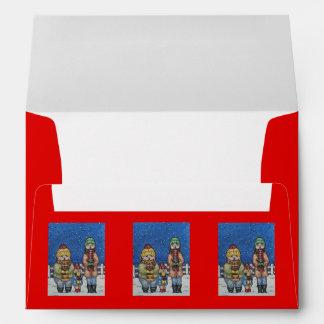 funny carol singers in the snow christmas design envelope