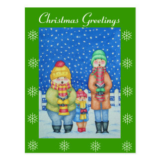 funny carol singers in the snow christmas design postcard