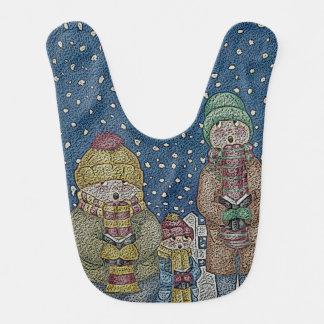 funny carol singers snow scene christmas design bib