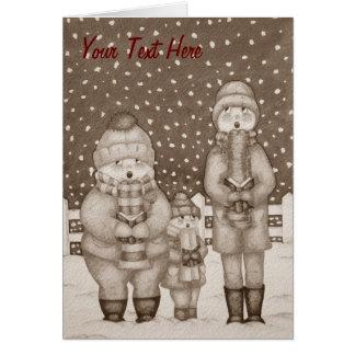 funny carol singers snow scene christmas design card