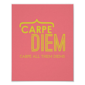 Funny Carpe Diem Poster in Pink Gold