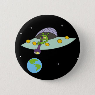 Funny Cartoon Alien and Earth Pinback Button