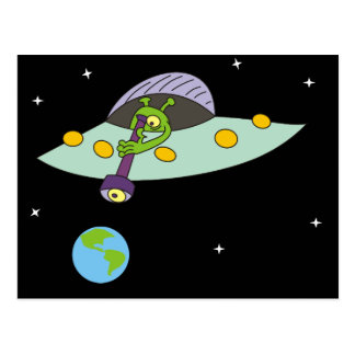 Funny Cartoon Alien and Earth Postcard