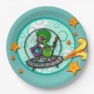 FUNNY CARTOON ALIEN LARGE PAPER PLATE