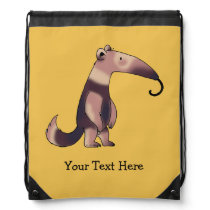 funny cartoon anteater - just add name drawstring bag