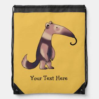 funny cartoon anteater - just add name drawstring bag