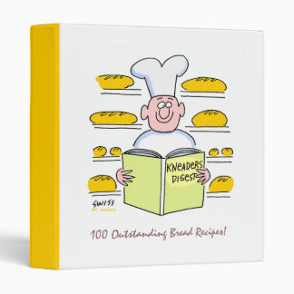 Funny Cartoon Baker in Bakery Bread Recipes Binder