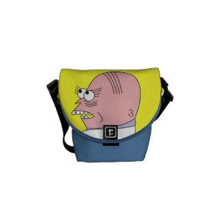 Funny Cartoon Bald Man Bags Courier Bag