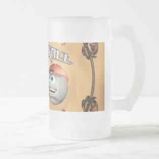 Funny cartoon baseball 16 oz frosted glass beer mug
