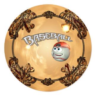 Funny cartoon baseball 5.25x5.25 square paper invitation card
