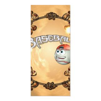 Funny cartoon baseball 4x9.25 paper invitation card