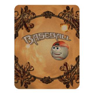 Funny cartoon baseball 4.25x5.5 paper invitation card