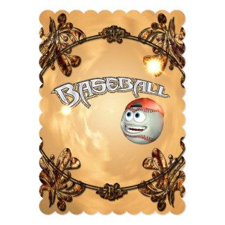 Funny cartoon baseball 5x7 paper invitation card