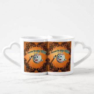 Funny cartoon baseball, now is my time couples' coffee mug set