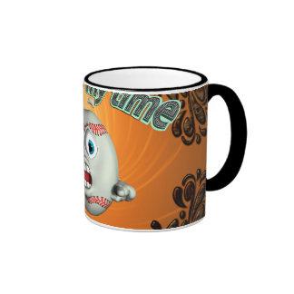 Funny cartoon baseball, now is my time ringer coffee mug